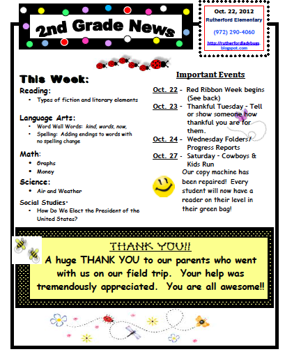 Ms houser 39 s wonderful world of 2nd grade weekly newsletter for 5th grade newsletter template