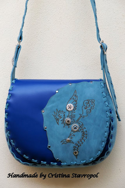 geanta handmade albastra
