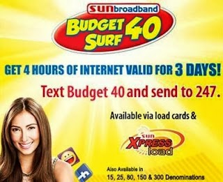 Sun Cellular Budget Surf promo: Internet for only 15, 25, 40, 80, 150 and 300 pesos