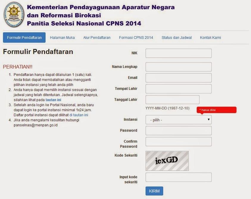 Formulir Pendaftaran CPNS 2014