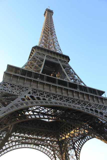 Close up look at the Eiffel Tower in Paris, France