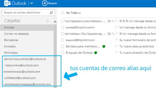 carpetas de correo alias bandeja de entrada Outlook