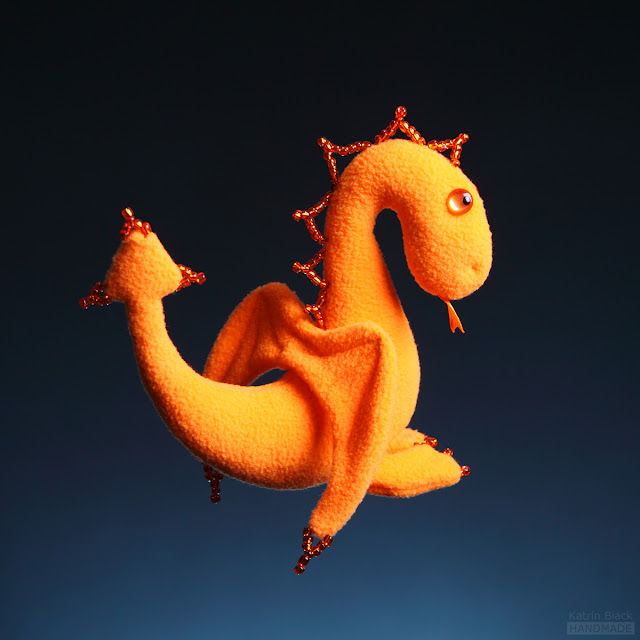 Дракончик - авторская мягкая игрушка из флиса ручной работы от Katrin Black