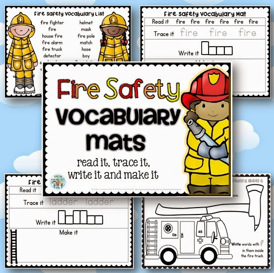 Fire Safety Vocabulary Mats with Record Sheets Center Activity