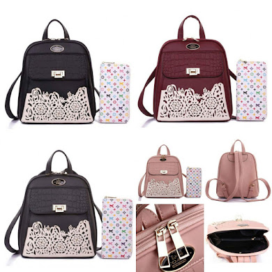 BACKPACK BAG GRED AAA - BLACK , DUSTY PINK , GREY , MAROON