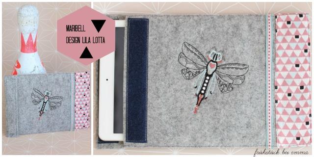 I pad Hülle aus Wollfilz bestickt mit einer Libelle - aus der Maribell Stickserie erhältlich bei Huuups