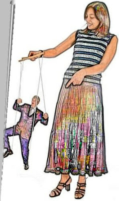 Puppet on a string. Woman with strings on a man