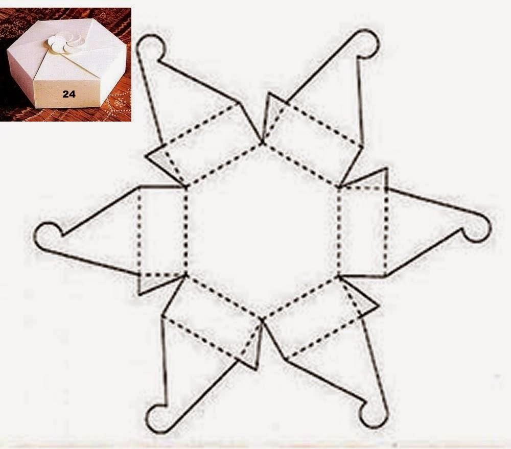 Caja exagonal con cierre en forma de flor