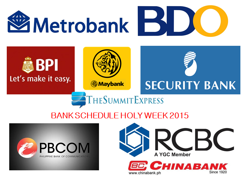 Bank Schedule Holy Week 2015
