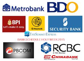 Bank Schedule Holy Week 2015