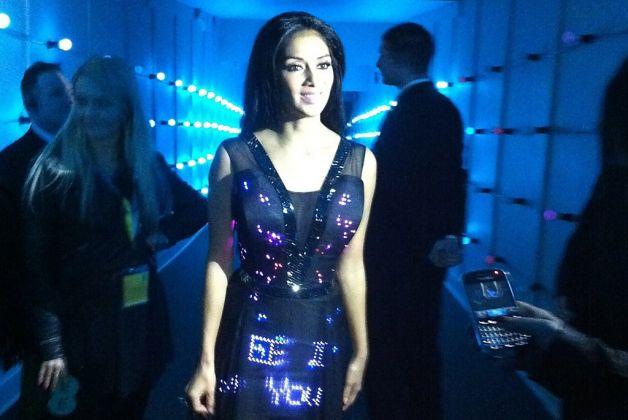 Nicole Scherzinger wears a Twitter dress