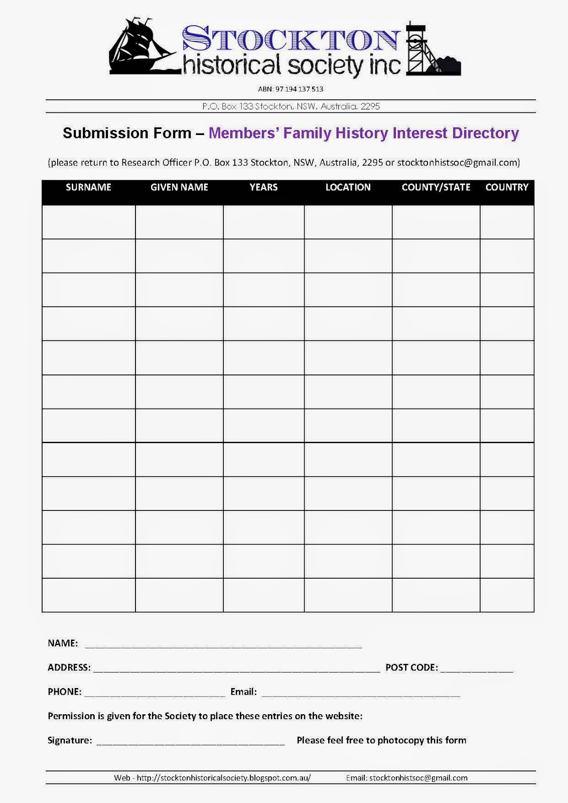 Stockton Historical Society Inc: Member Interest Forms Now Working