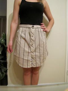 DIY :: Boyfriends Dress Shirt = New Skirt