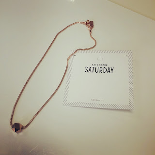 Kate Spade Saturday mini polyhedron necklace rose gold