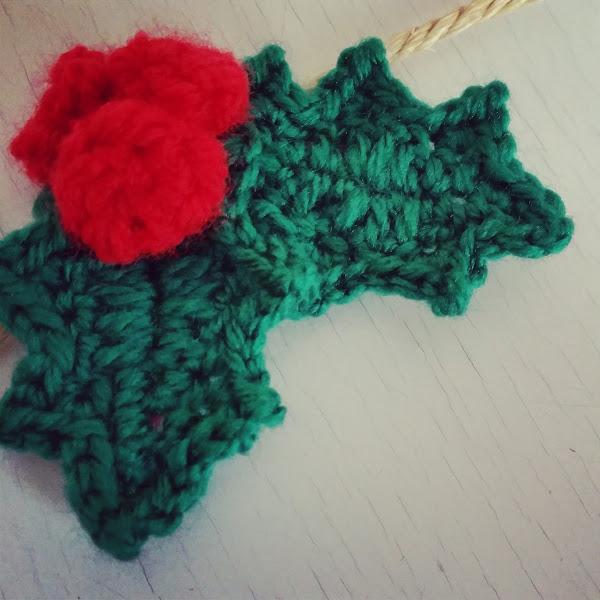 Hojas de Navidad (Acebo) a Crochet