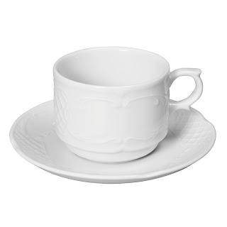 Ceasca si farfurioara catering, din portelan alb, se poate folosi la masina de vase si cuptorul cu microunde in conditii de siguranta