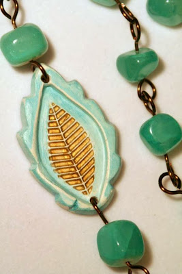 Last summer leaf: ooak necklace, polymer clay, art bead, stone, brass, copper, wire wrapping :: All Pretty Things