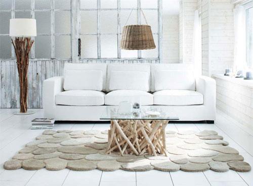 Salón blanco y madera nórdico
