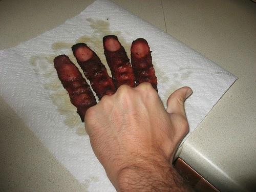 greasy bacon fingers