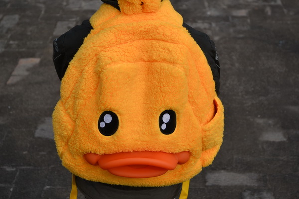 Patent Duck-shape Yellow backpack