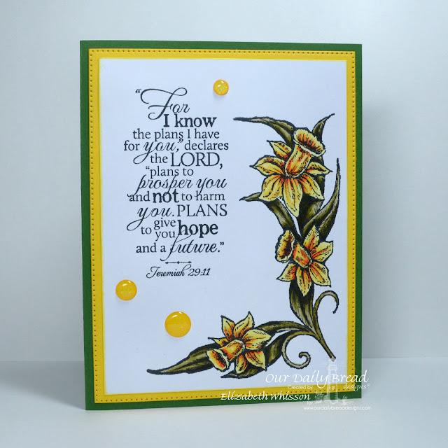 Elizabeth Whisson, Our Daily Bread Designs, ODBD, ODBDDT, ODBDSLC248, Daffodil Corner, Flourished Star Pattern Dies, Good Man, doodlebug sprinkles, Copics, flowers, handmade card, Jeremiah 29:11