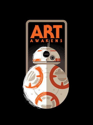 "Lucasfilm, HP & Gallery 1988 presents Star Wars: The Force Awakens ""Art Awakens"" Group Art Show Logo by Tom Whalen"