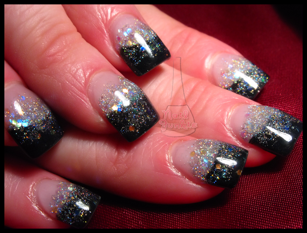 Silver And Black Sparkle Acrylic Nails Black Silver Sparkle