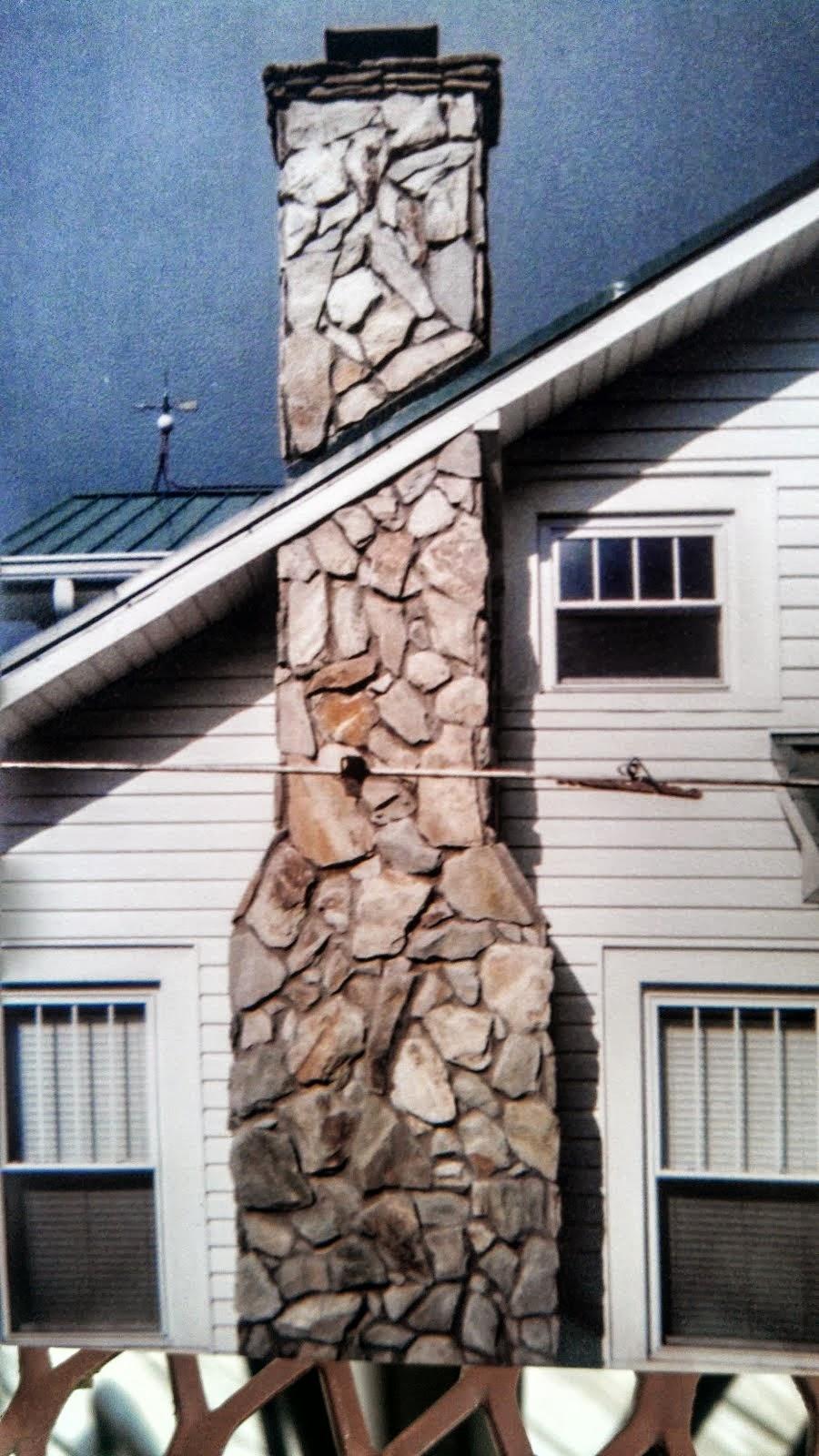 outdoor stone chimney