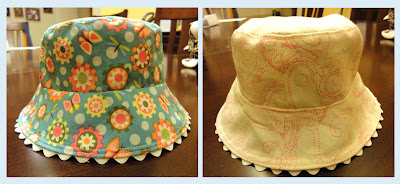 Sarah's hat, outer and reverse views