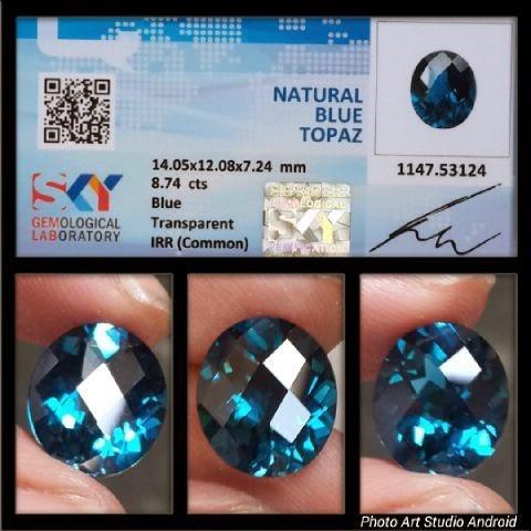 Batu Natural Blue Topaz + Sertifikat