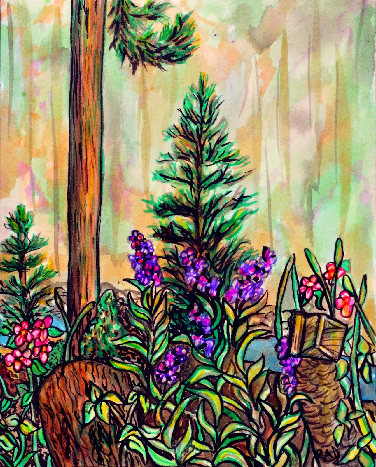 https://www.etsy.com/listing/196381779/original-ink-forest-painting-cabin-plein