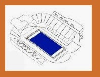 drawing of football stadium with blue rectangle for field