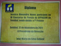 """1ºLUGAR NO VI CONCURSO DE POESIA """"COMUNIDADE ESCOLAR"""" DA APPACDM DE SETÚBAL (NOVEMBRO 2011)"""
