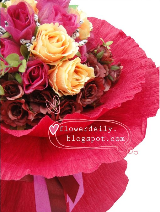 Valentine Flower Bouquet - Fuschia ~ flower daily blog