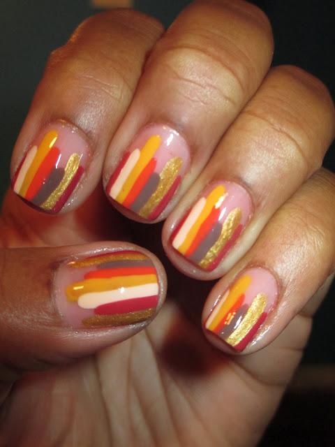 Fall, autumn, stripes, yellow, gold, orange, red, Thanksgiving, nail art, nail design, mani