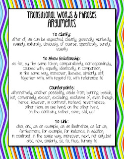 Common Core Transitions for Argumentative Writing