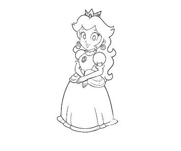 #24 Princess Peach Coloring Page