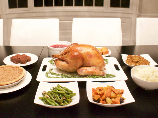 Close-up of my Thanksgiving turkey and sides