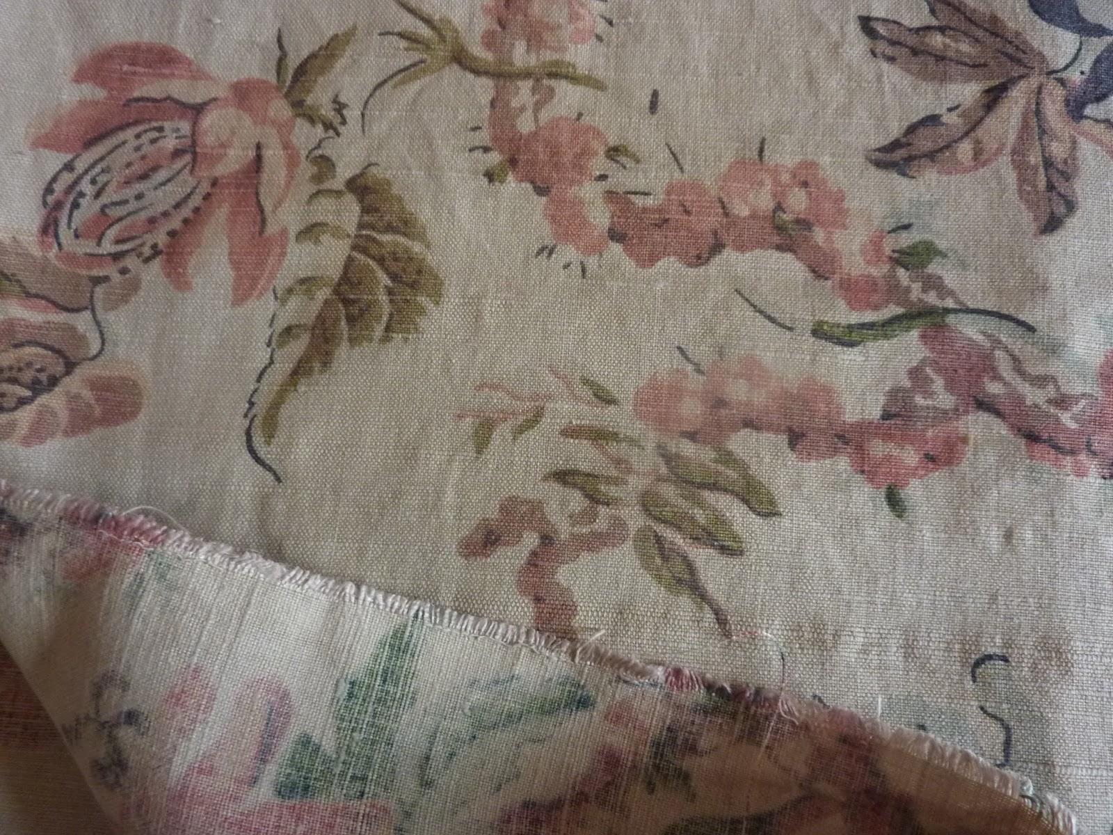 les ateliers la grande goule 807 magnifique tissu ameublement ancien 19e fleuri clematites fond. Black Bedroom Furniture Sets. Home Design Ideas