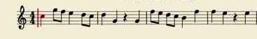 Partitura con los primeros compases de la flauta del Otoño de Antonio Vivaldi