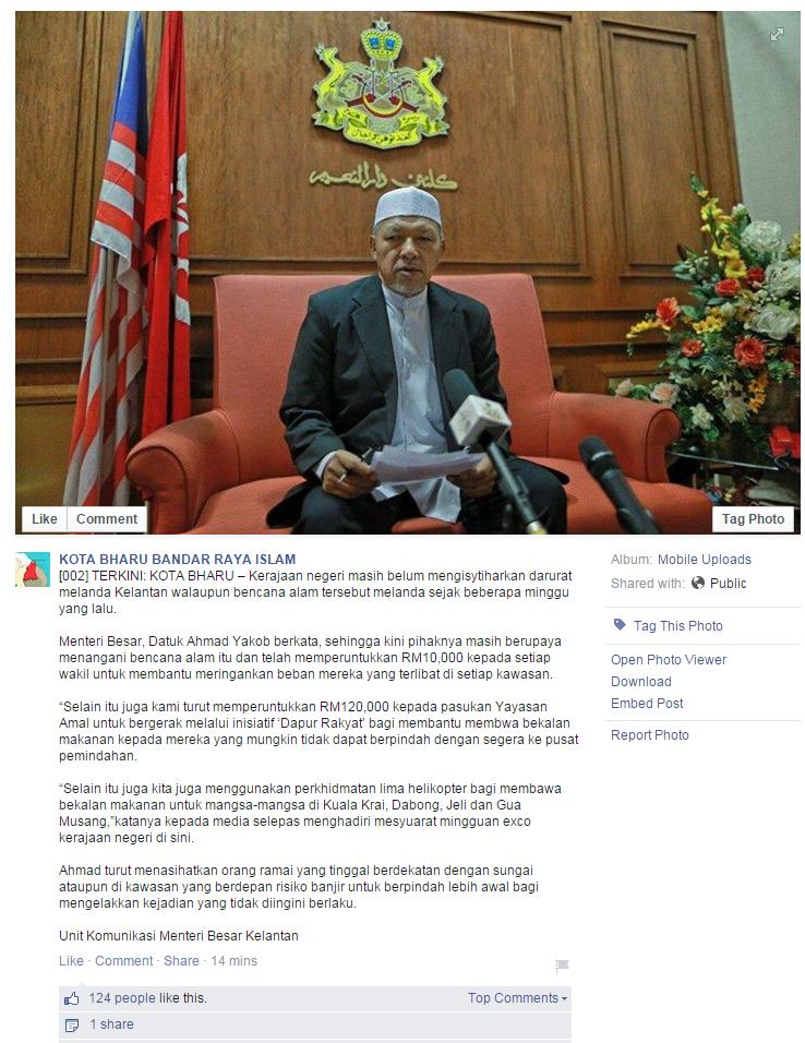 Kelantan Belum Isytihar Darurat Banjir