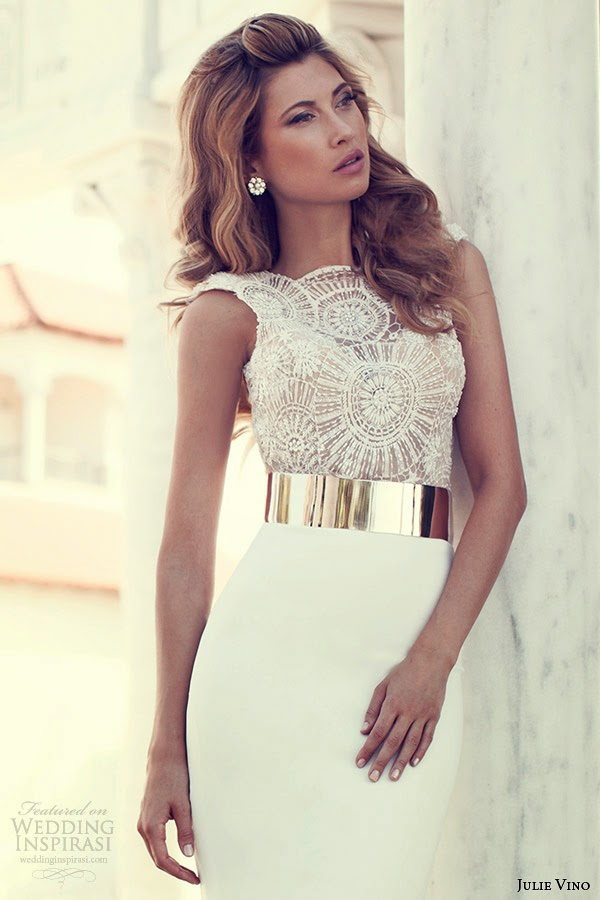 Amazing wedding dress with lace handwork and golden belt