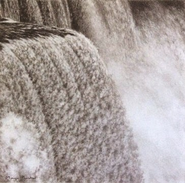 Charcoal painting of Niagara Falls by Manju Panchal