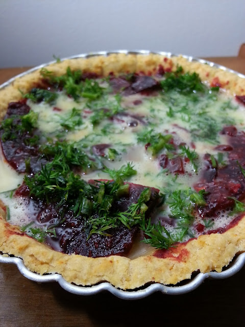Indian Beetroot Feta Dill Quiche Recipe