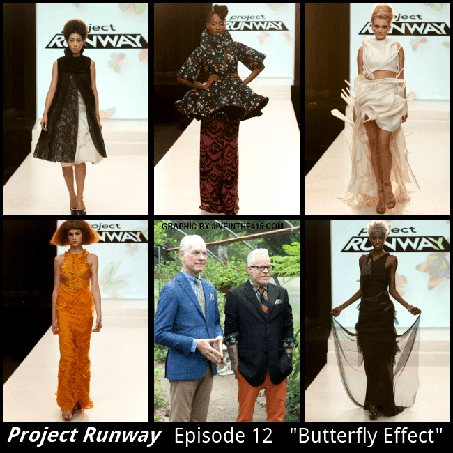 "Project Runway Season 12 - Episode 12 ""Butterfly Effect's"" 5 runway looks."