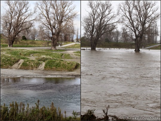 Ngaruroro River, photographed from Chesterhope Bridge, Pakowhai - before and after just a few days of rain photograph