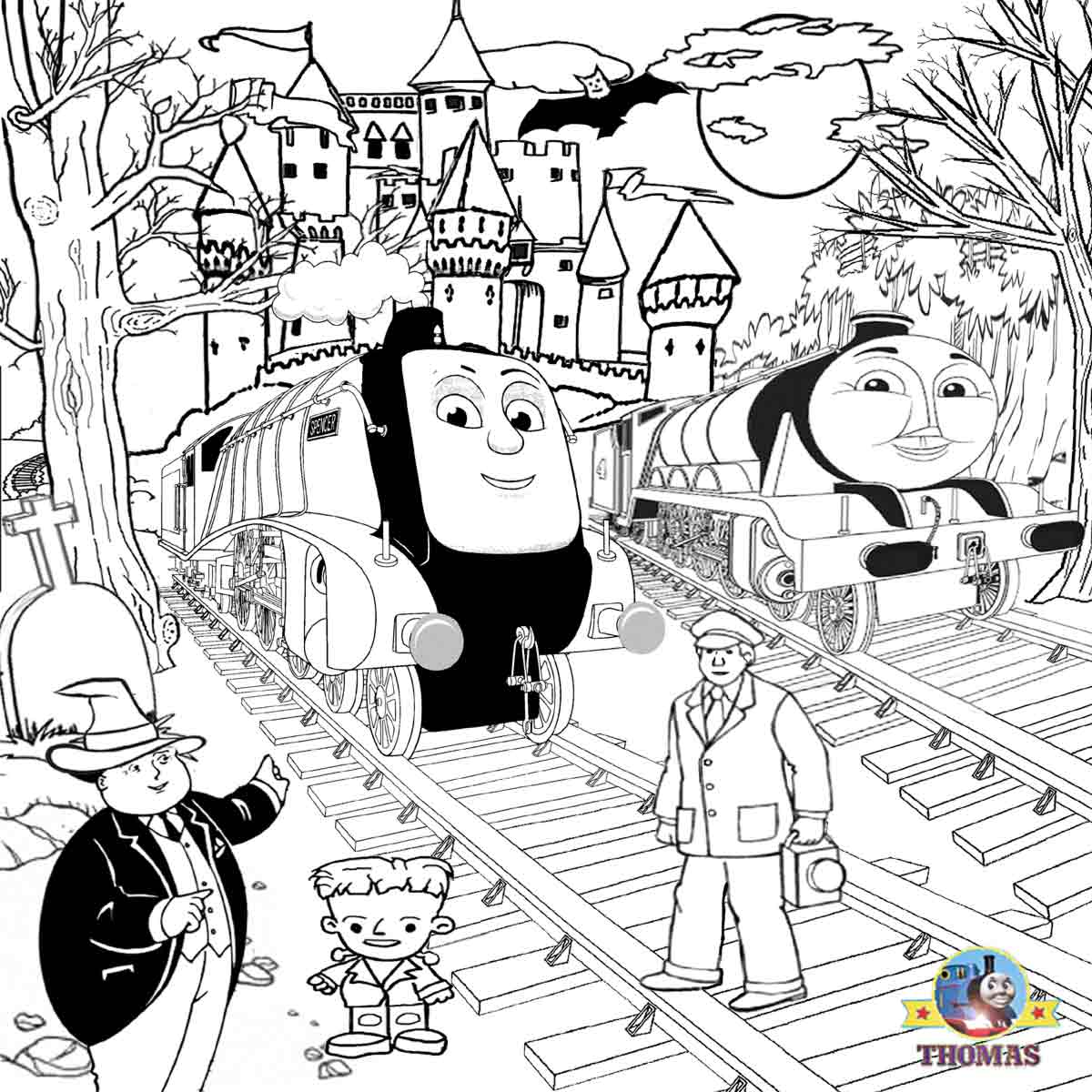 Diesel train coloring pages - Thomas Spencer And Gordon Coloring Ideas For Kids To Color Online Activities Halloween Spooky Castle