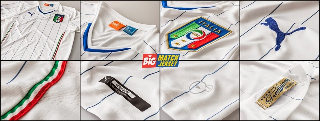 Detail Jersey Bola Grade Ori Italy Away Puma World Cup 2014