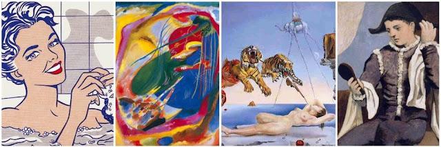 Museo Thyssen-Bornemisza de Madrid - Mujer en el baño, Roy Lichtenstein - Pintura con tres manchas, Wassily Kandinsky - Sueño causado por el vuelo de una abeja alrededor de una granada un segundo antes del despertar, Salvador Dalí - Arlequín con espejo, Pablo Picasso