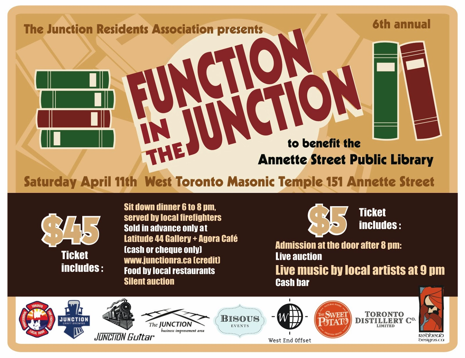 Function in the Junction - fundraiser for Annette Street Public Library, Saturday, April 11, 2015, West Toronto Masonic Temple, Toronto